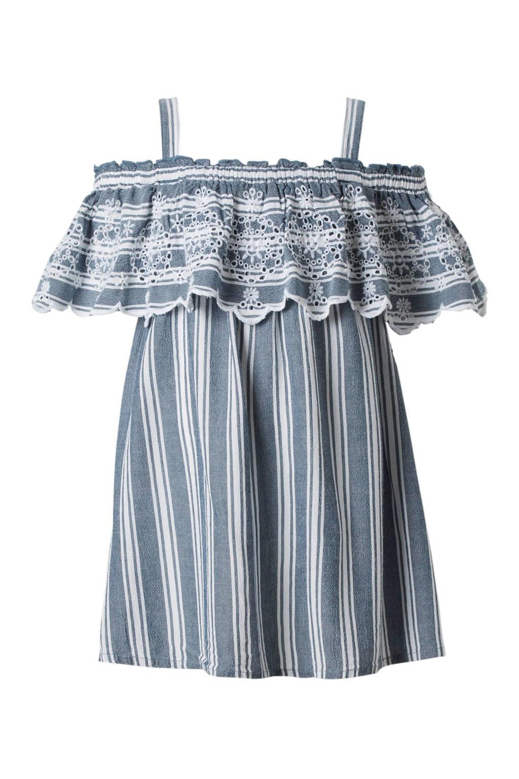 C&A Here & There gestreepte open shoulder jurk met broderie blauw, Blauw/wit