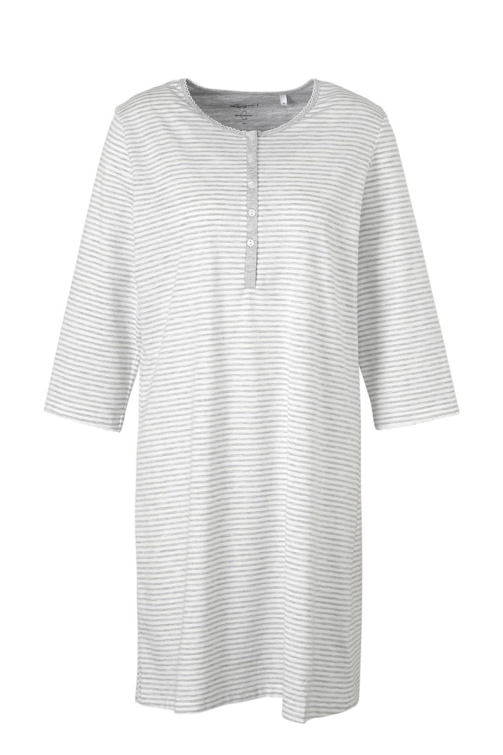 C&A nachthemd met all over streepprint wit/grijs, Wit/grijs