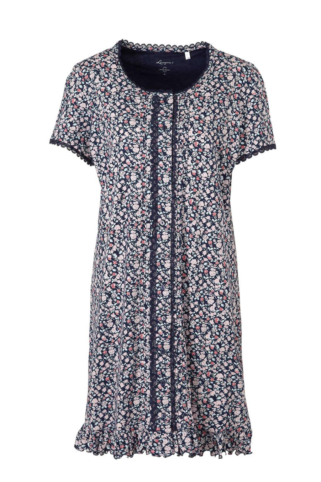 C&A nachthemd met all over bloemenprint donkerblauw, Donkerblauw/multi