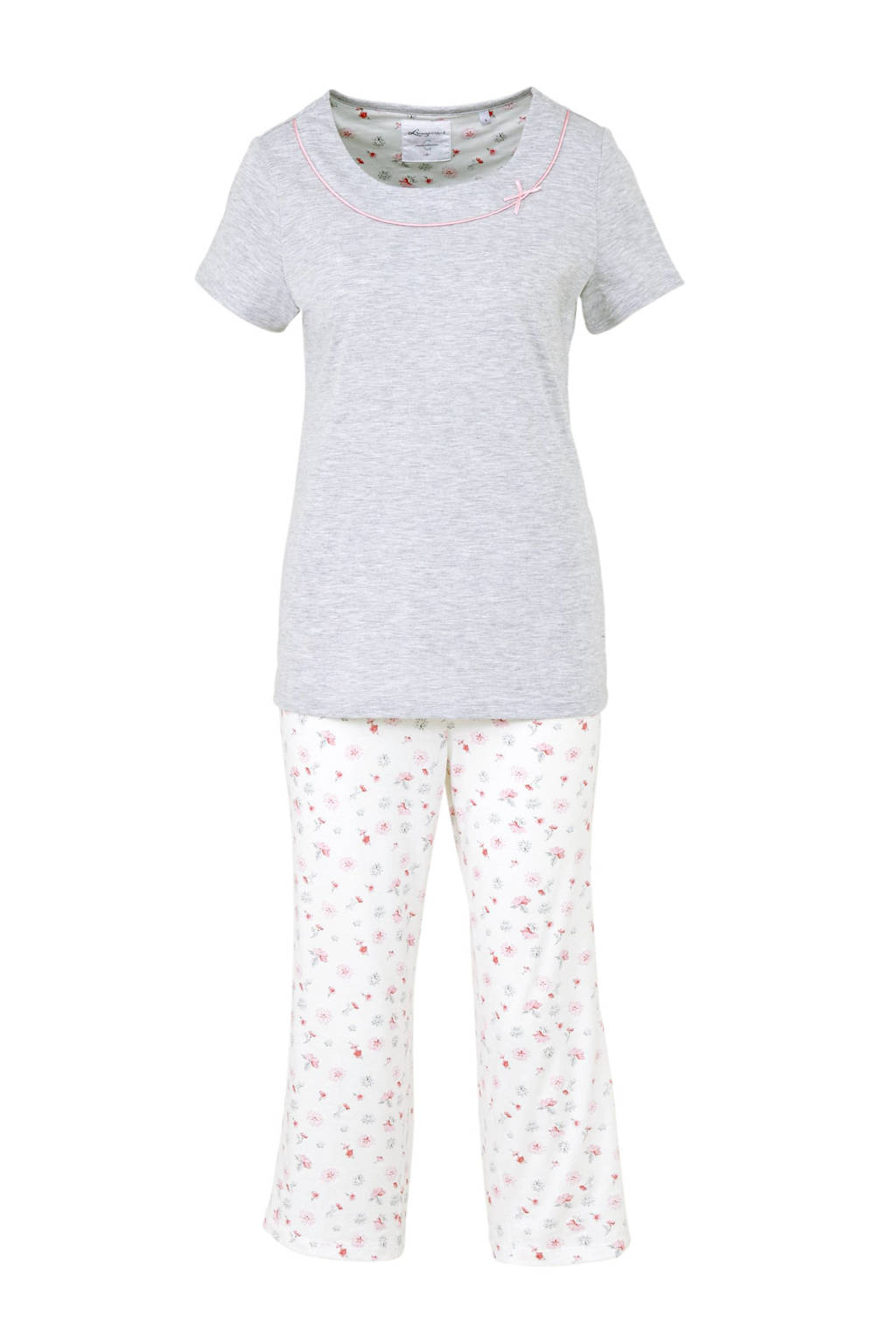 C&A pyjama met bloemen grijs/wit, Grijs/wit