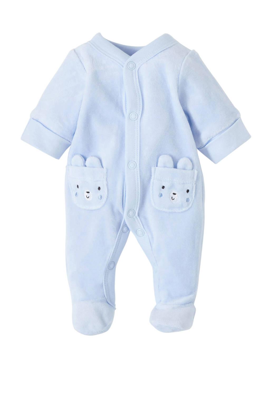 C&A Baby Club   newborn baby velours pyjama blauw, Lichtblauw