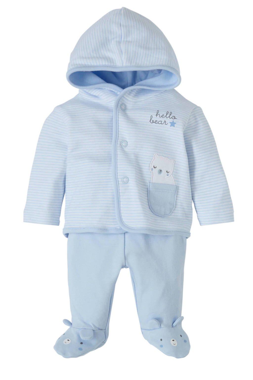 C&A Baby Club newborn baby vest + broek, Lichtblauw/wit