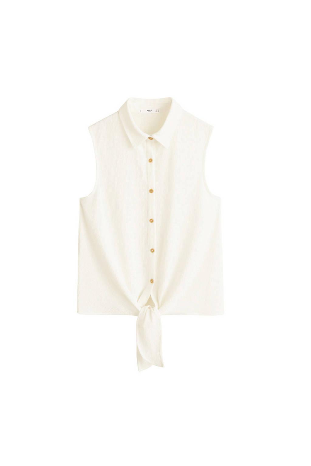 breed bereik informatie vrijgeven op enorme selectie van Mango mouwloze blouse met knoopdetail wit | wehkamp