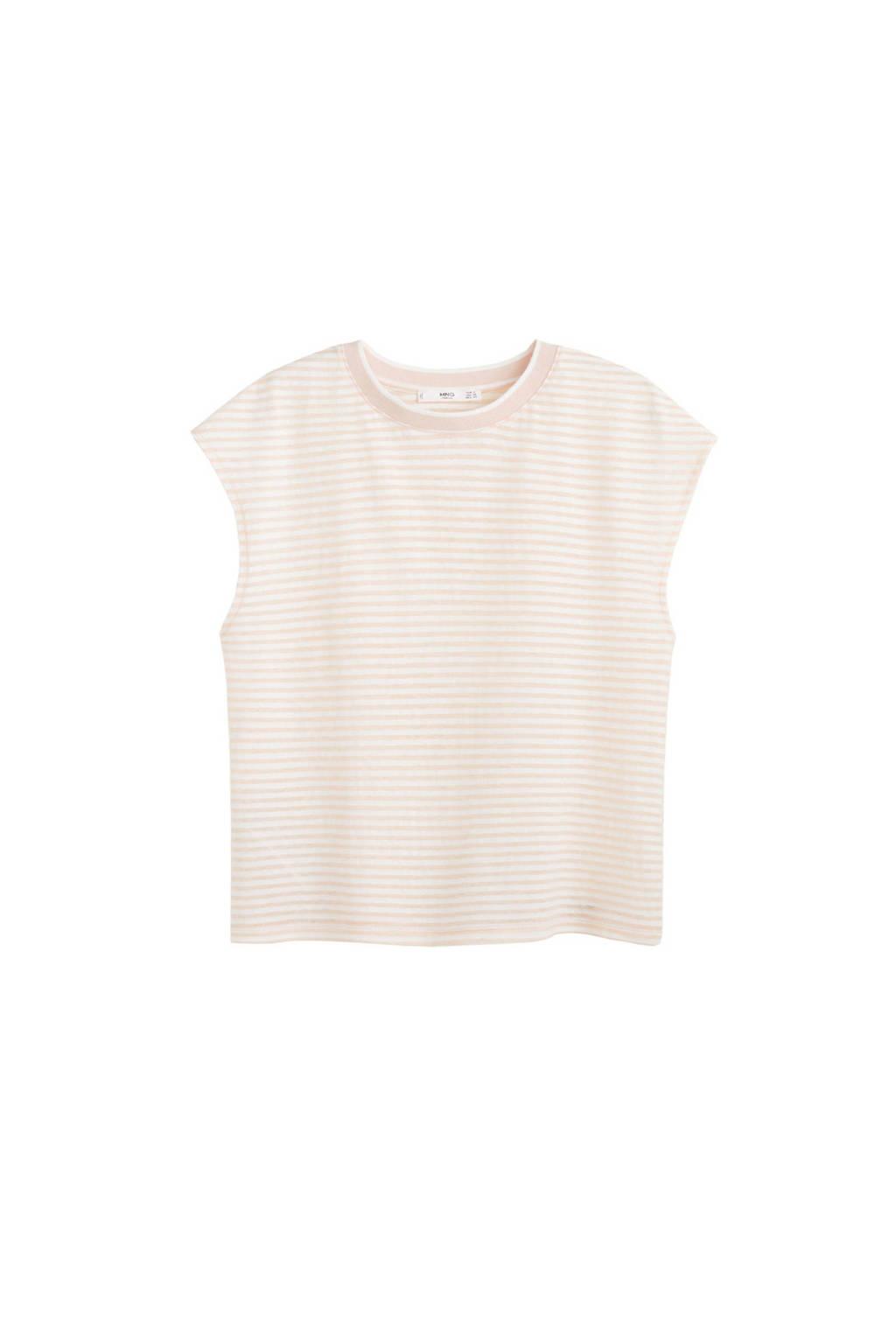 Mango T-shirt met strepen wit, Wit/roze