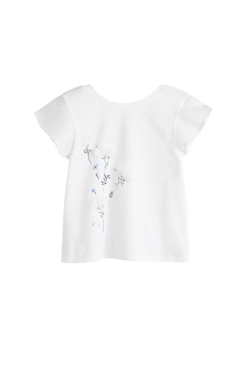 Mango Kids top met bloemen wit, Wit