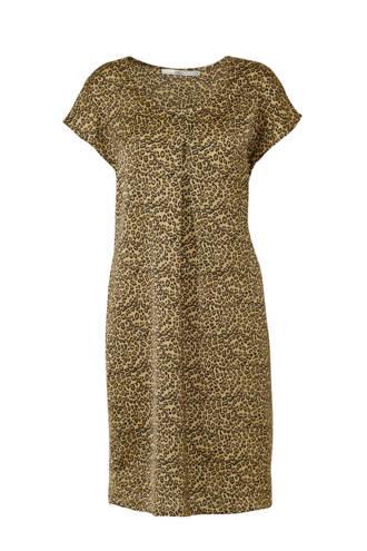 jurk met panterprint bruin