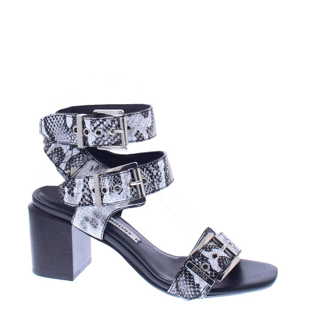 Bronx Salvea Snake sandalettes, Wit/zwart