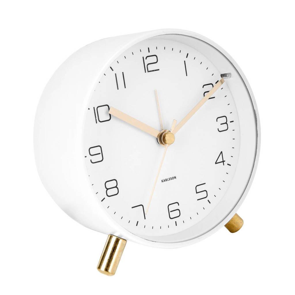 Karlsson alarmklok/wekker Lofty (Ø11 cm), Wit
