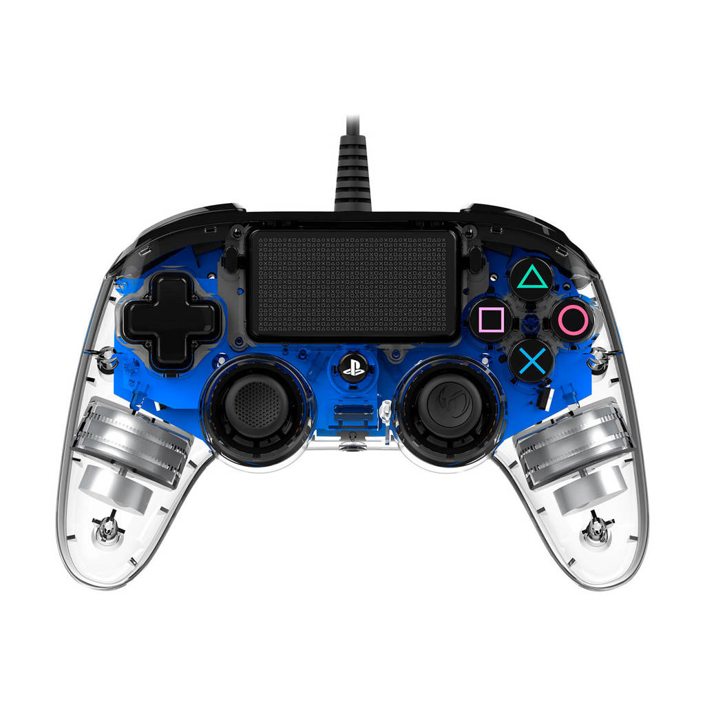 Nacon PlayStation 4 official wired compact LED controller blauw, Blauw, Transparent