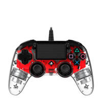 Nacon PlayStation 4 official wired compact LED controller rood, Rood, Transparent