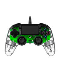 Nacon PlayStation 4 official wired compact LED controller groen, Groen, Transparent