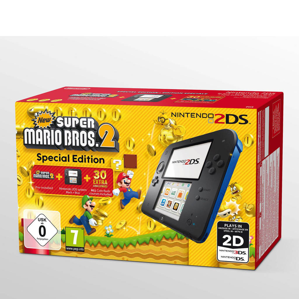Nintendo 2DS zwart + New Super Mario Bros 2, Zwart