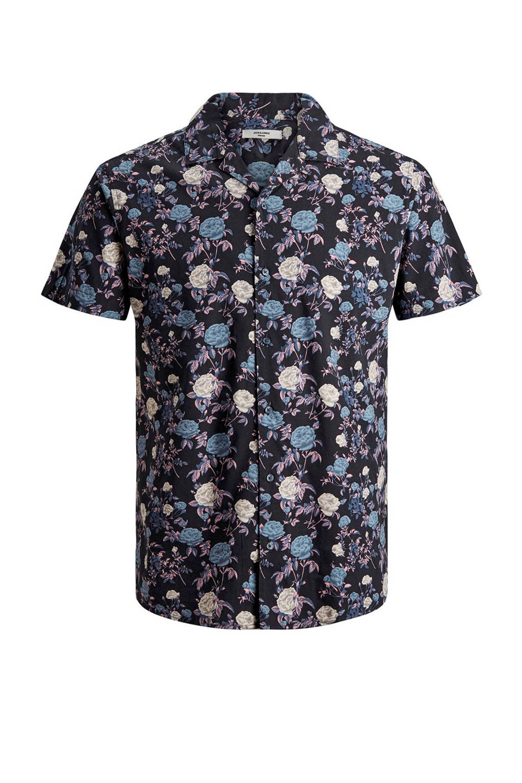 JACK & JONES PREMIUM overhemd met all-over print marine, Marine/Multi-kleuren