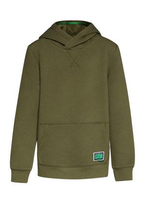 hoodie met textuur olijfgroen