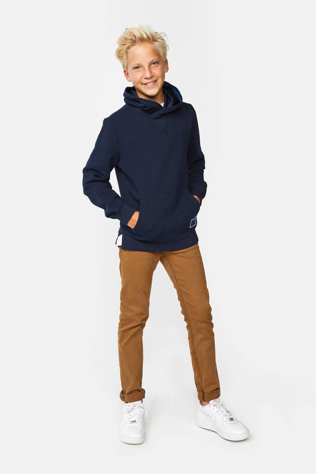 WE Fashion hoodie met textuur donkerblauw, Donkerblauw
