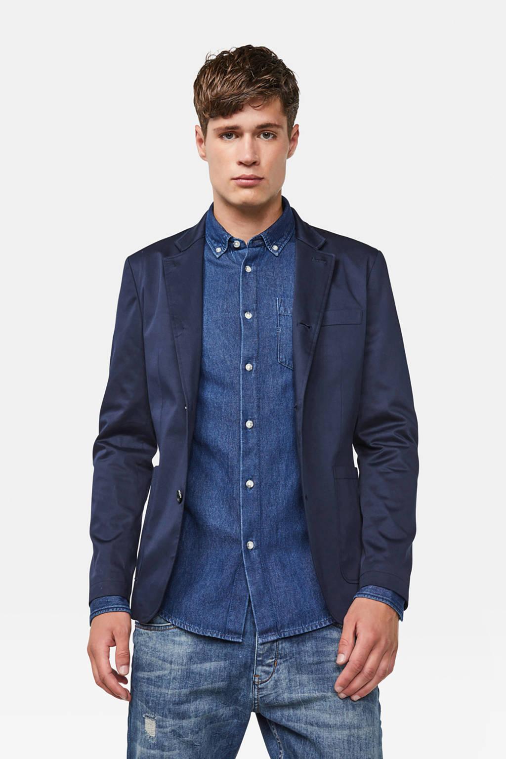 WE Fashion slim fit colbert donkerblauw, Donkerblauw