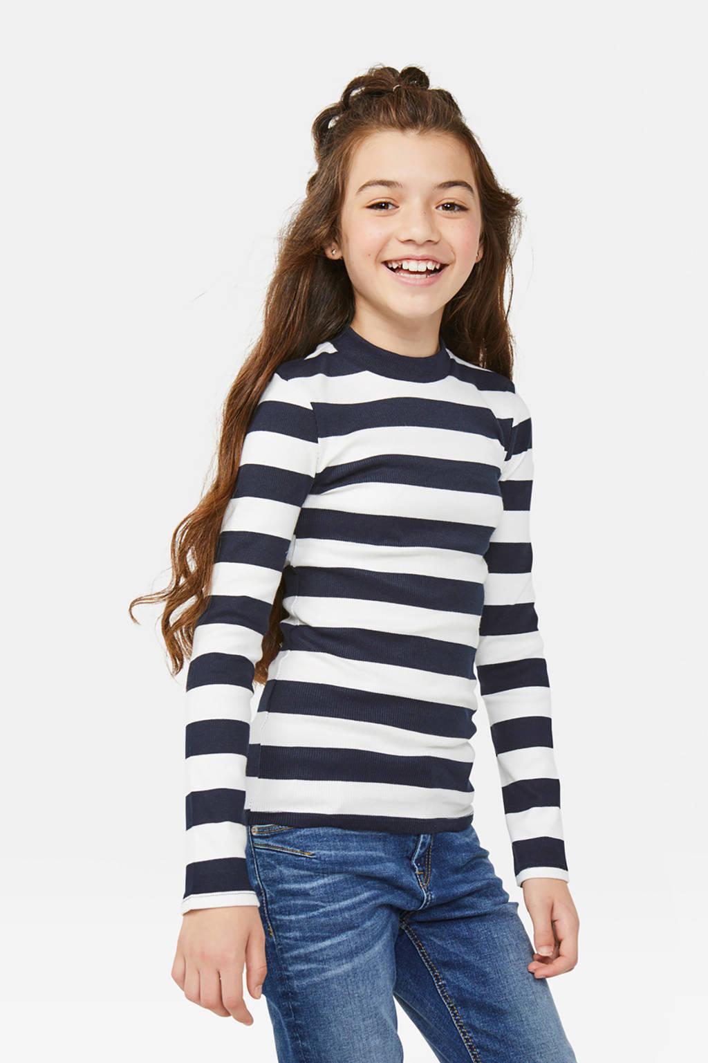 WE Fashion gestreepte ribgebreide longsleeve donkerblauw/wit, Donkerblauw/wit