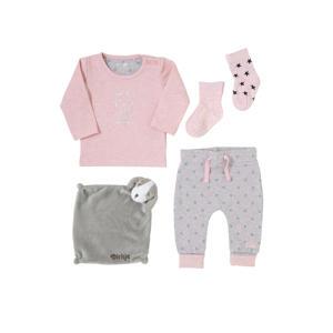 newborn baby longsleeve + broek + sokken + knuffeldoekje