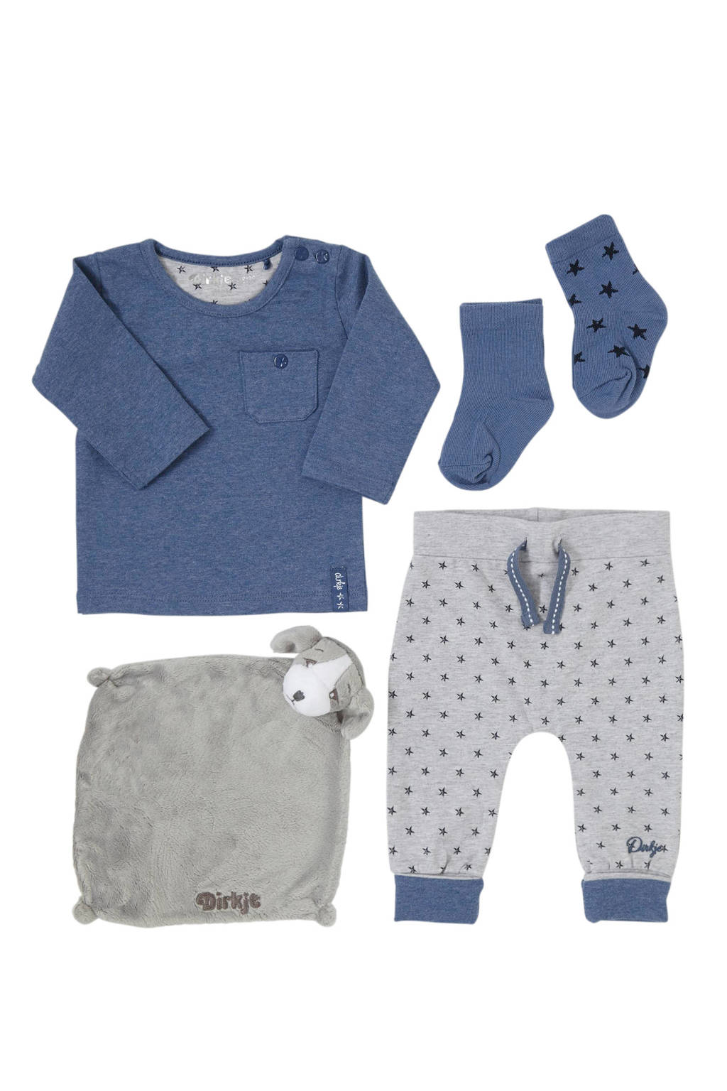 Dirkje newborn baby longsleeve + broek + sokken+ knuffel, Vergrijsd blauw/ grijs melange