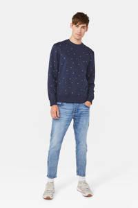 WE Fashion sweater met grafische print donkerblauw/wit/blauw, Donkerblauw/wit/blauw