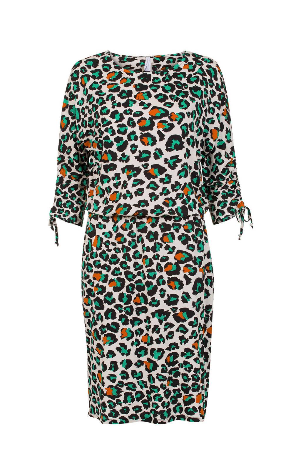 Miss Etam Regulier jurk met luipaardprint, Groen/oranje/wit/zwart