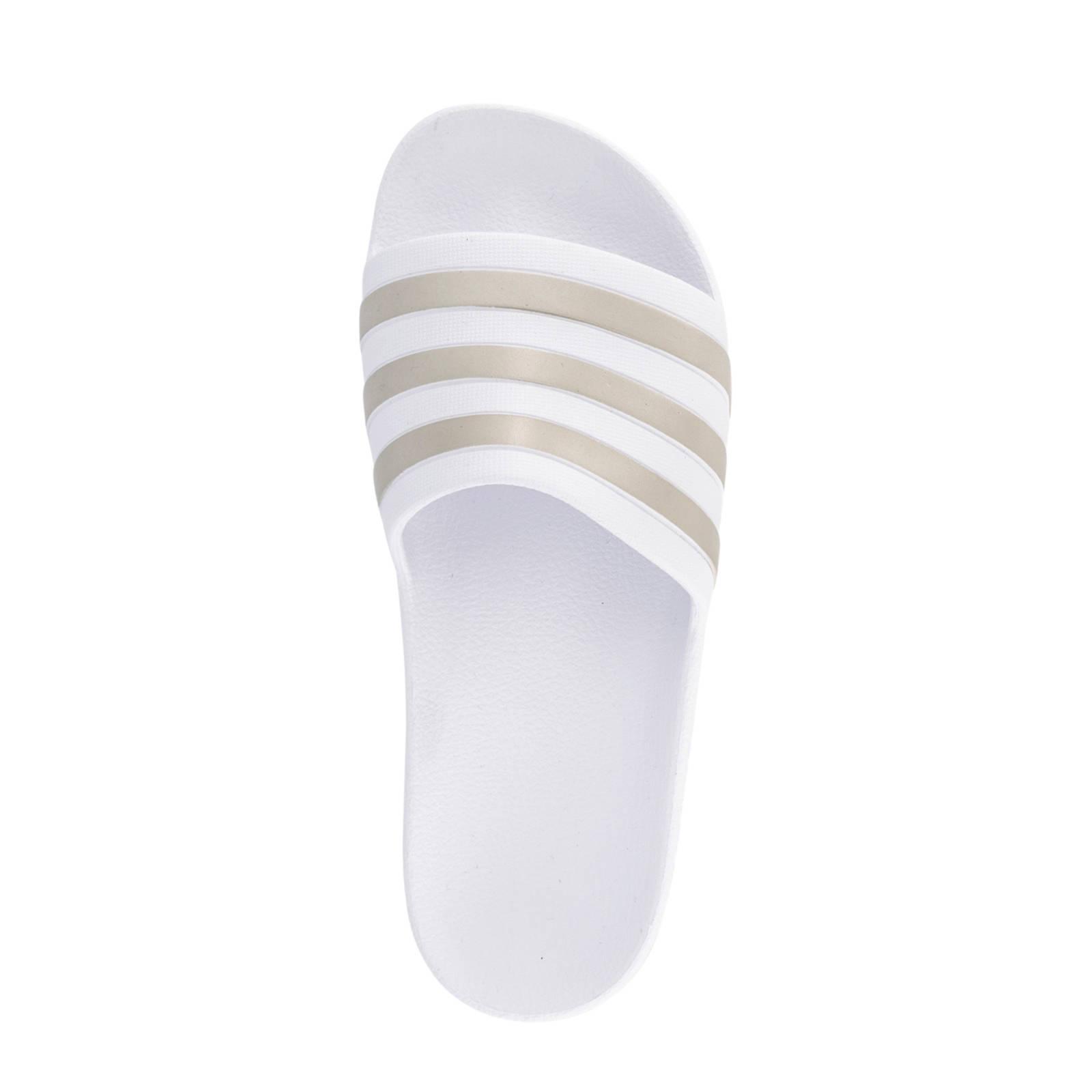 adidas Adilette Aqua badslippers wit/goud | wehkamp