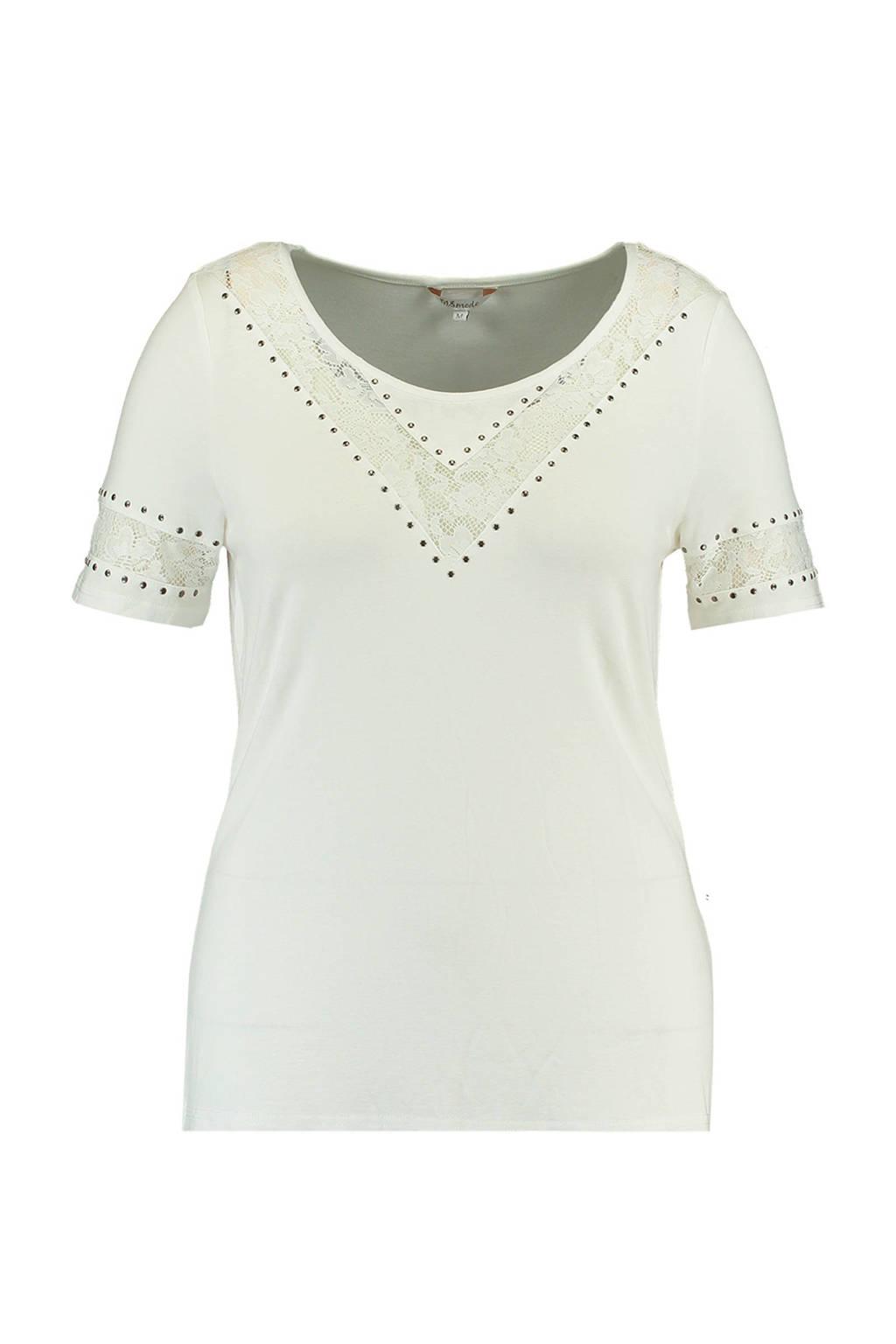 MS Mode top met kant, Gebroken wit