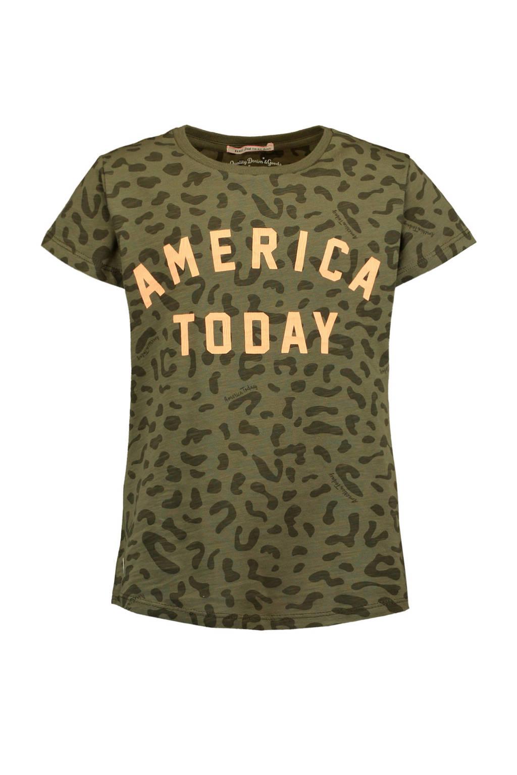 America Today Junior T-shirt Evi met alloverprint en tekst groen, Groen
