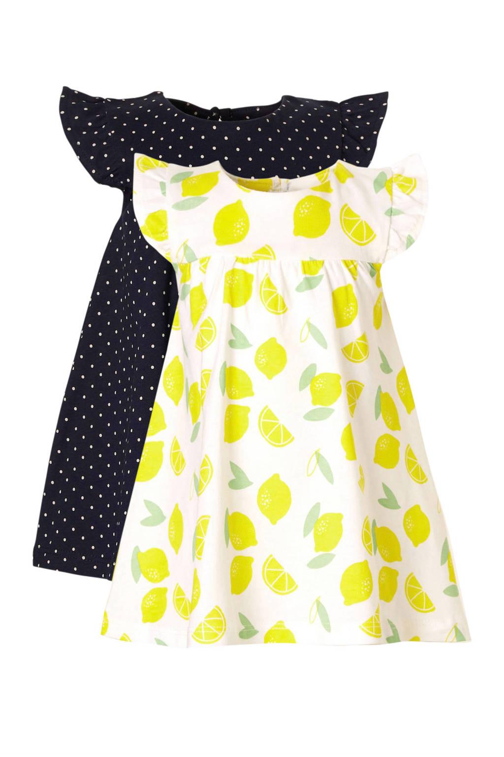 C&A Baby Club jurk - set van 2, Wit/donkerblauw