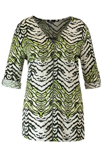 blouse met ritssluiting en all over print