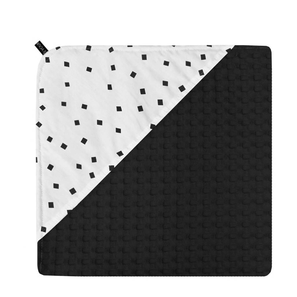 Your Wishes wikkeldeken zwart 65x65 cm, Zwart/wit