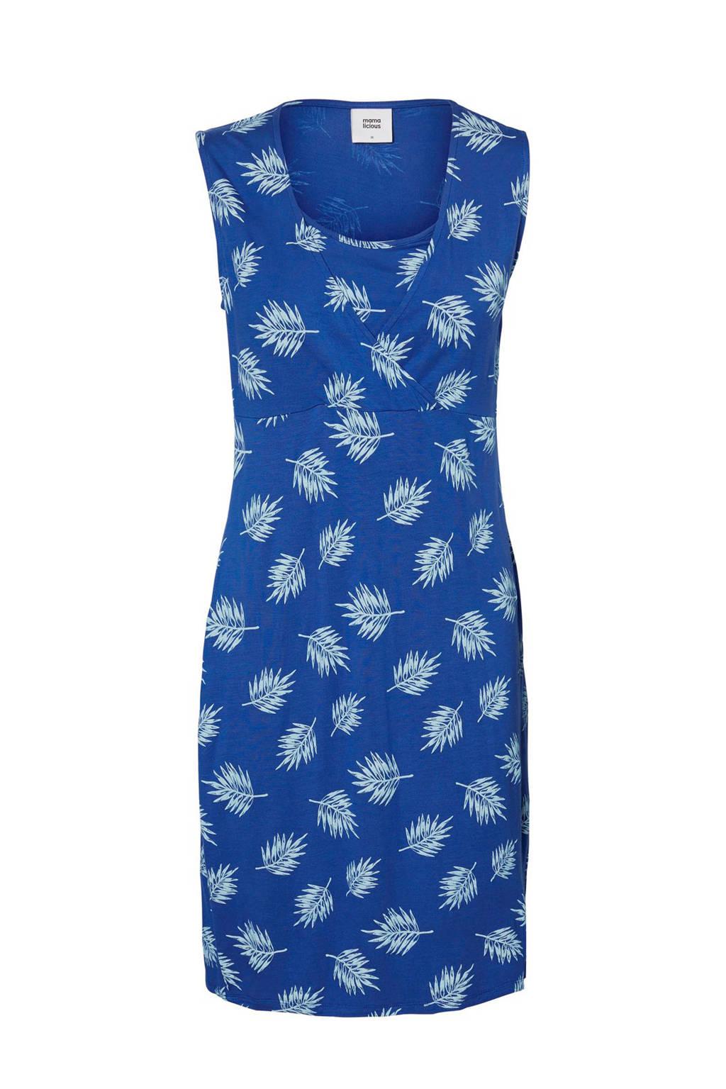MAMA-LICIOUS zwangerschaps- en voedingsjurk Tropical Tess blauw, blauw/ wit