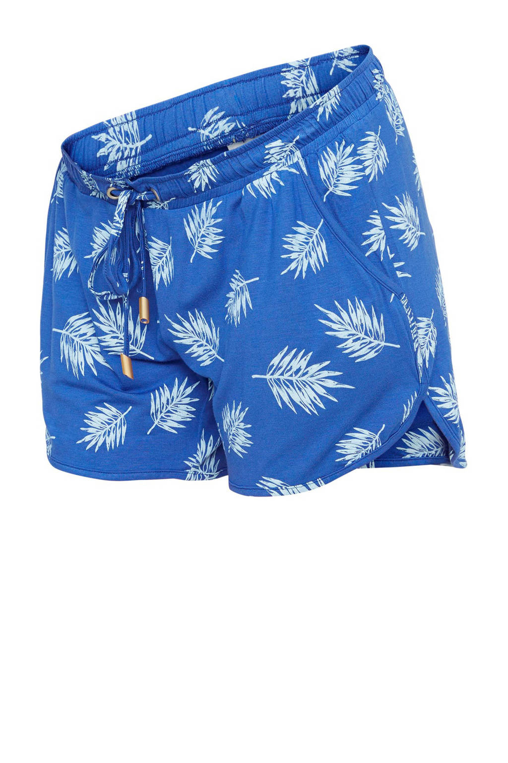MAMA-LICIOUS regular fit short met bladprint blauw, Blauw