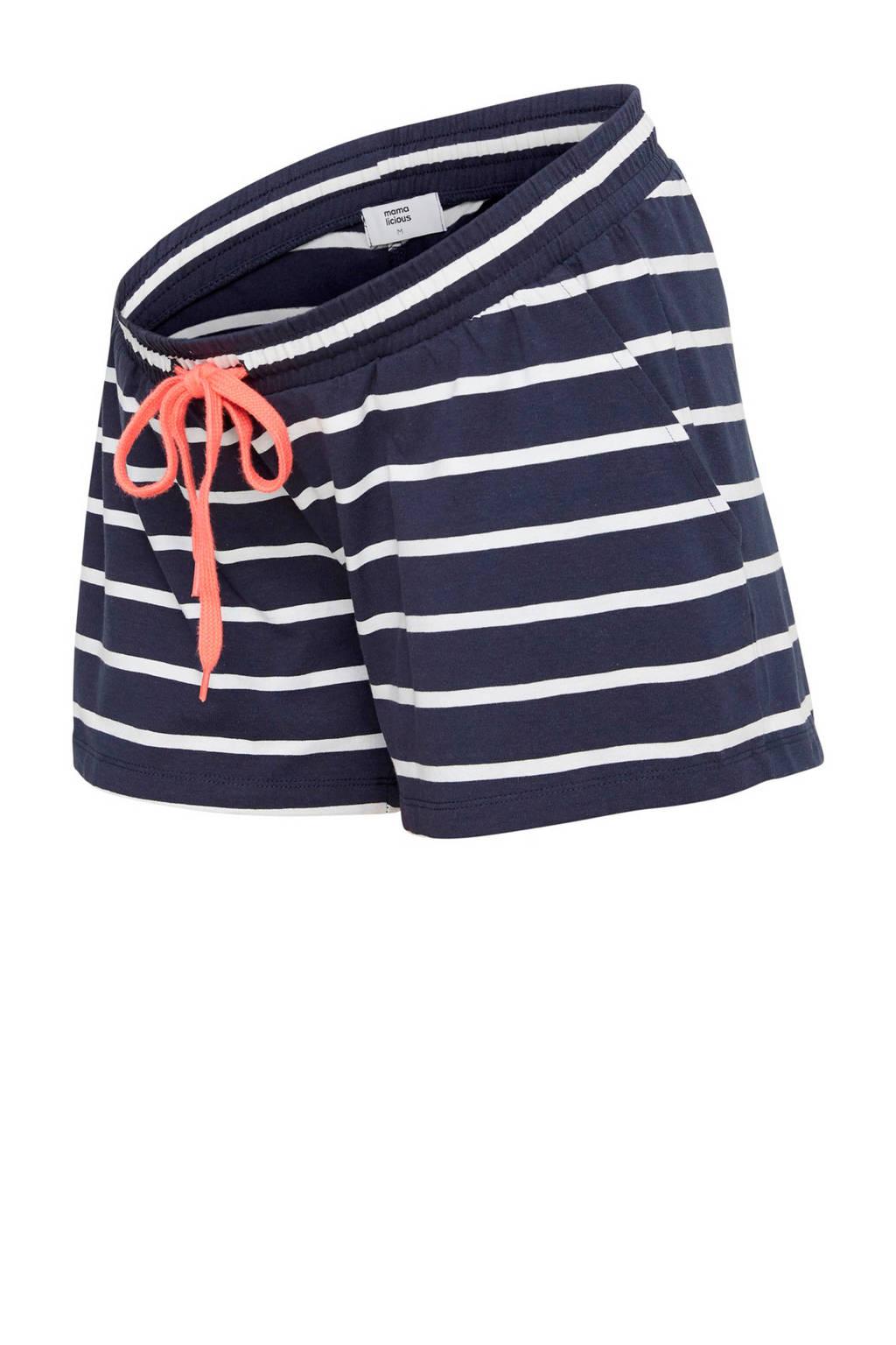 MAMA-LICIOUS zwangerschaps korte broek donkerblauw, Donkerblauw/wit