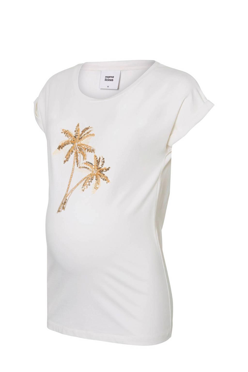 MAMA-LICIOUS zwangerschaps T-shirt Palm met pailetten, Wit