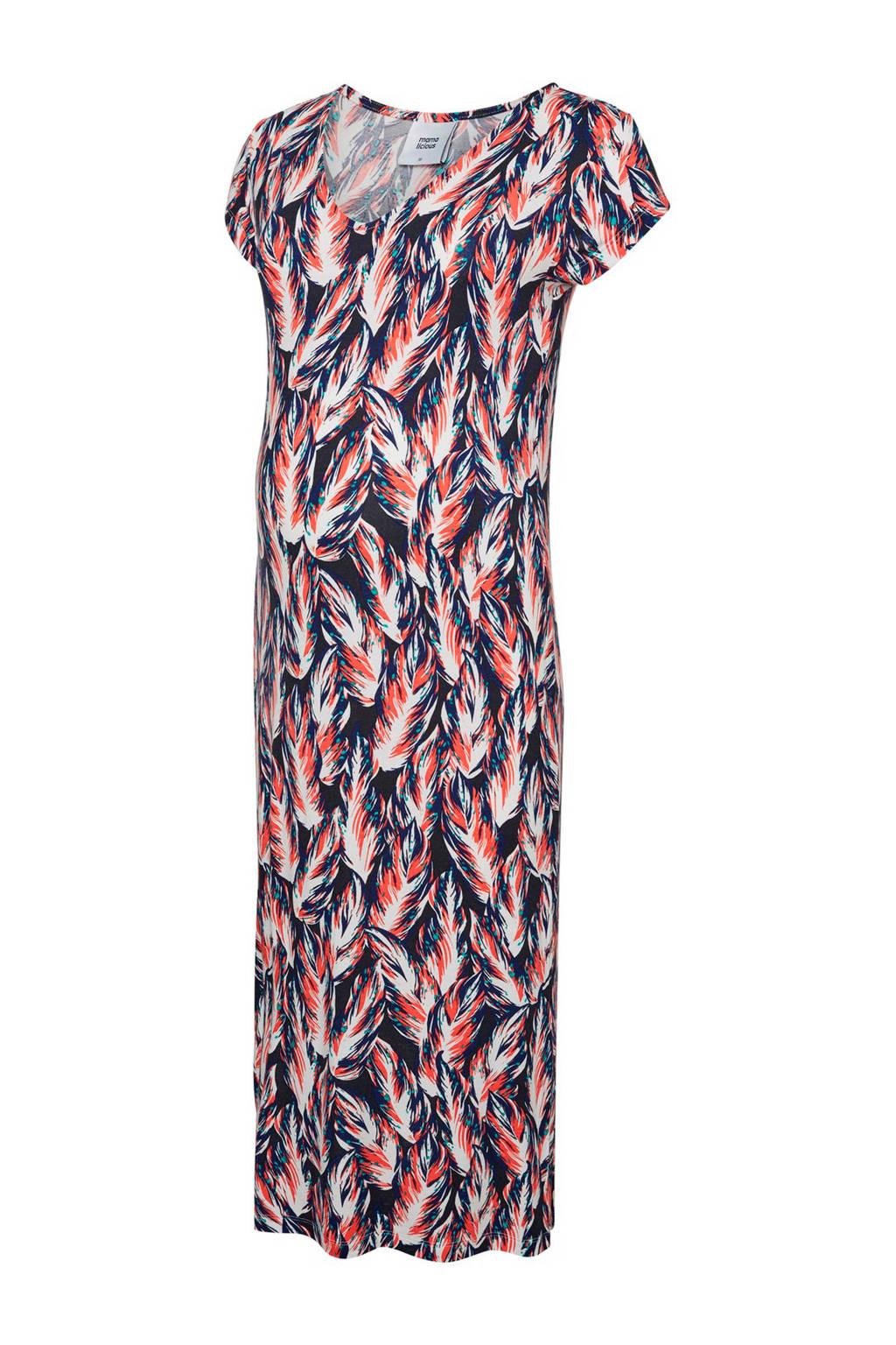MAMA-LICIOUS zwangerschap maxi jurk Rhea met all over print, Zwart/ wit/ oranje