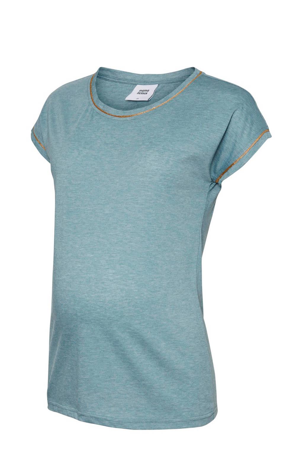 MAMA-LICIOUS zwangerschaps T-shirt Isla vergrijsd blauw
