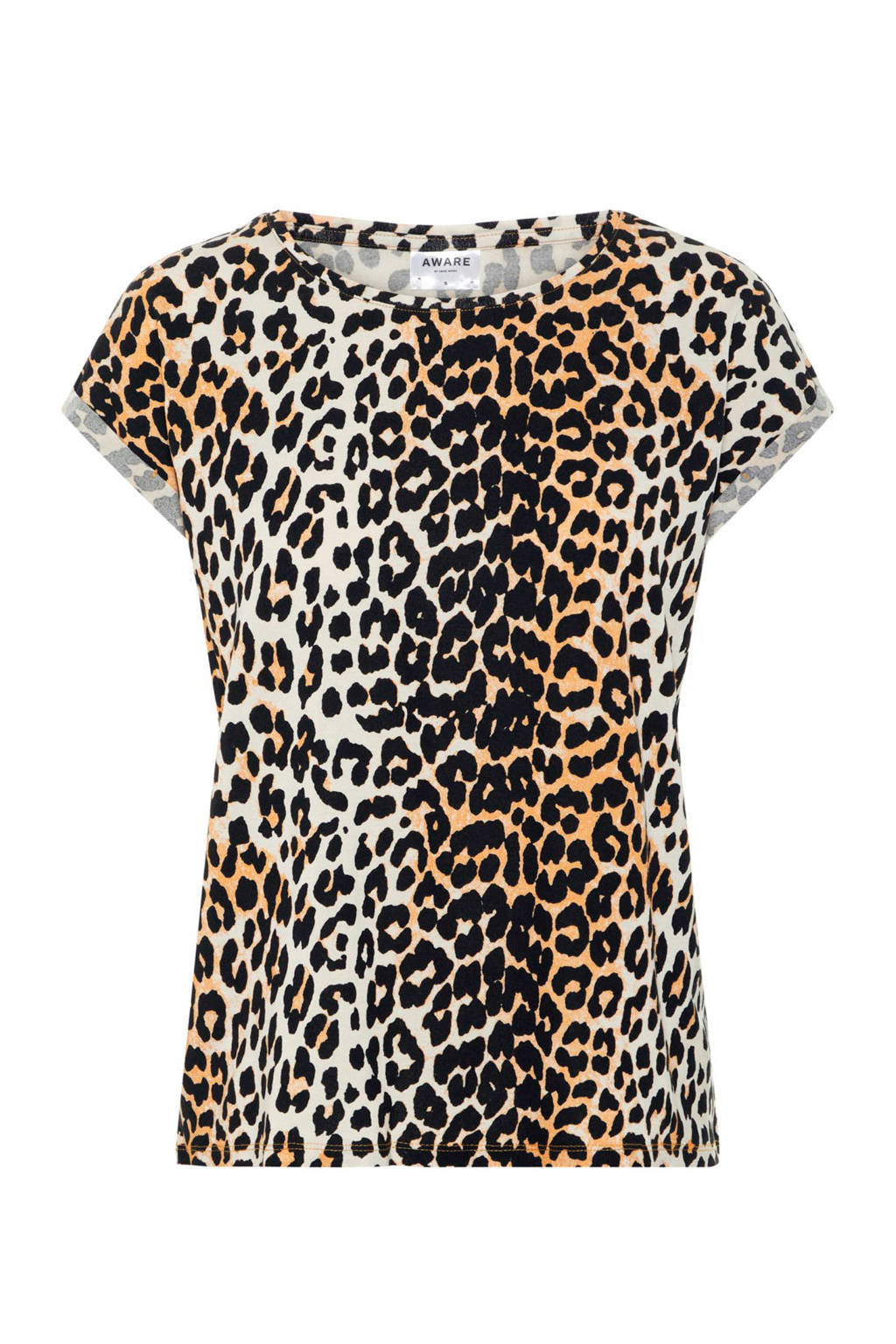 AWARE by VERO MODA T-shirt met panterprint, Bruin/zwart/ecru