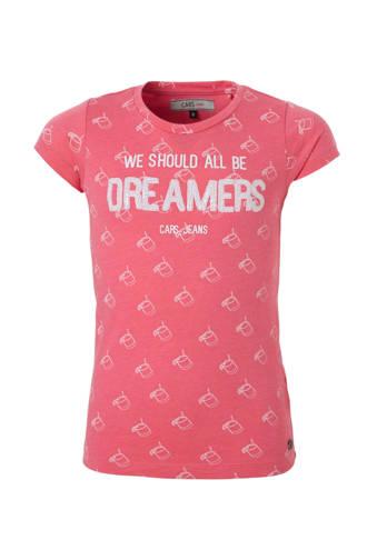 T-shirt Dott met tekst fuchsia