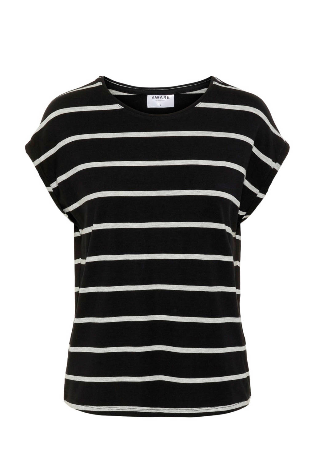 VERO MODA gestreept T-shirt zwart/ecru, Zwart/ecru