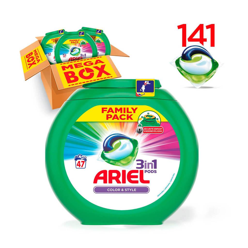 Ariel Kleur & Stijl 3in1Pods wasmiddelcapsules 3 x 47 wasbeurten, 141 stuks