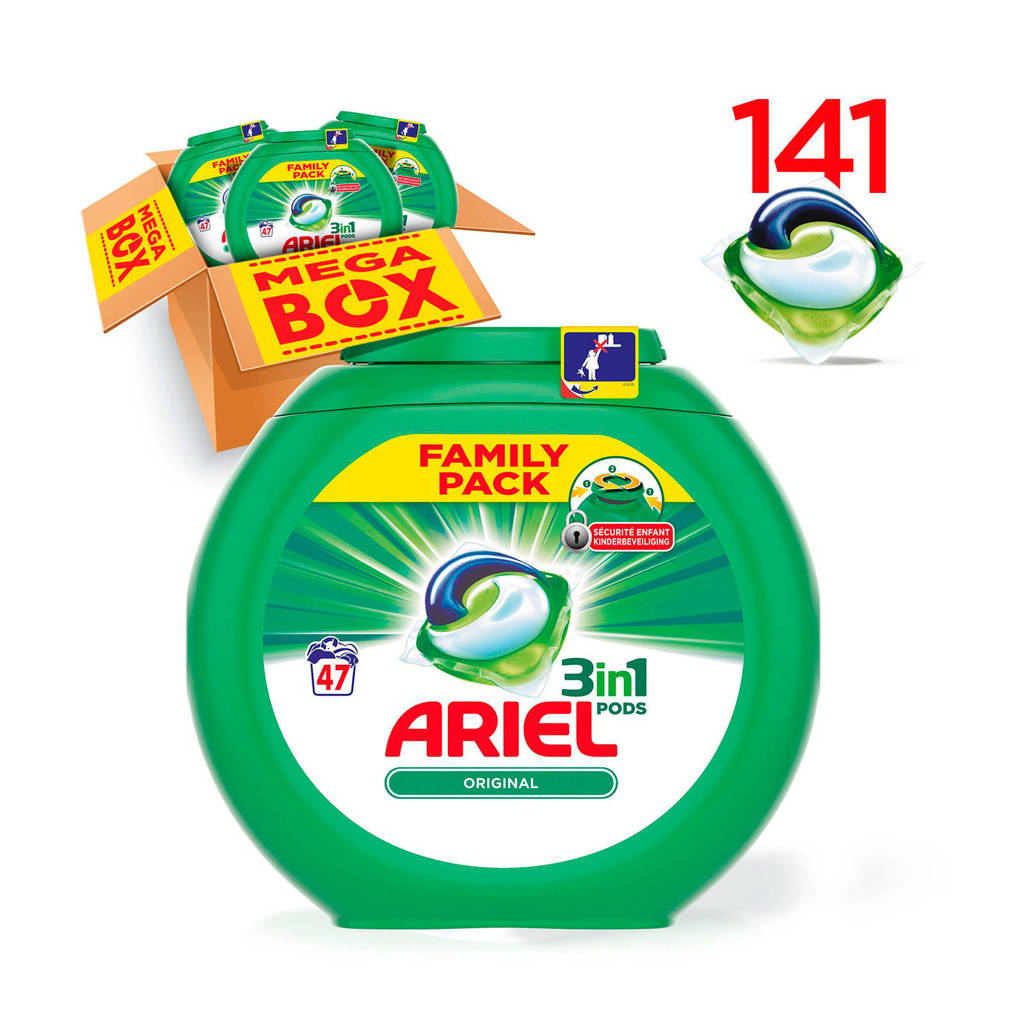 Ariel Original 3in1Pods wasmiddelcapsules 3 x 47 wasbeurten