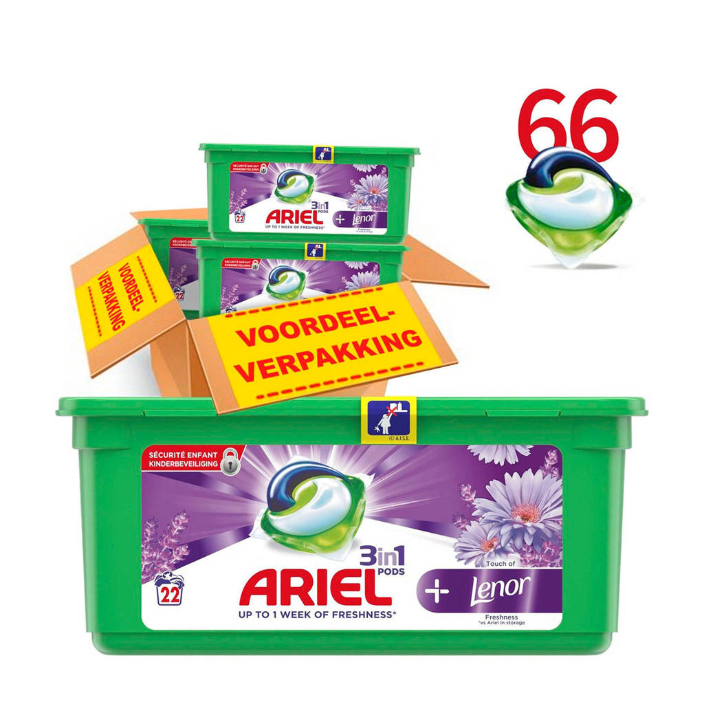 Ariel Touch Of Lenor 3in1Pods wasmiddelcapsules 3 x 22 wasbeurten