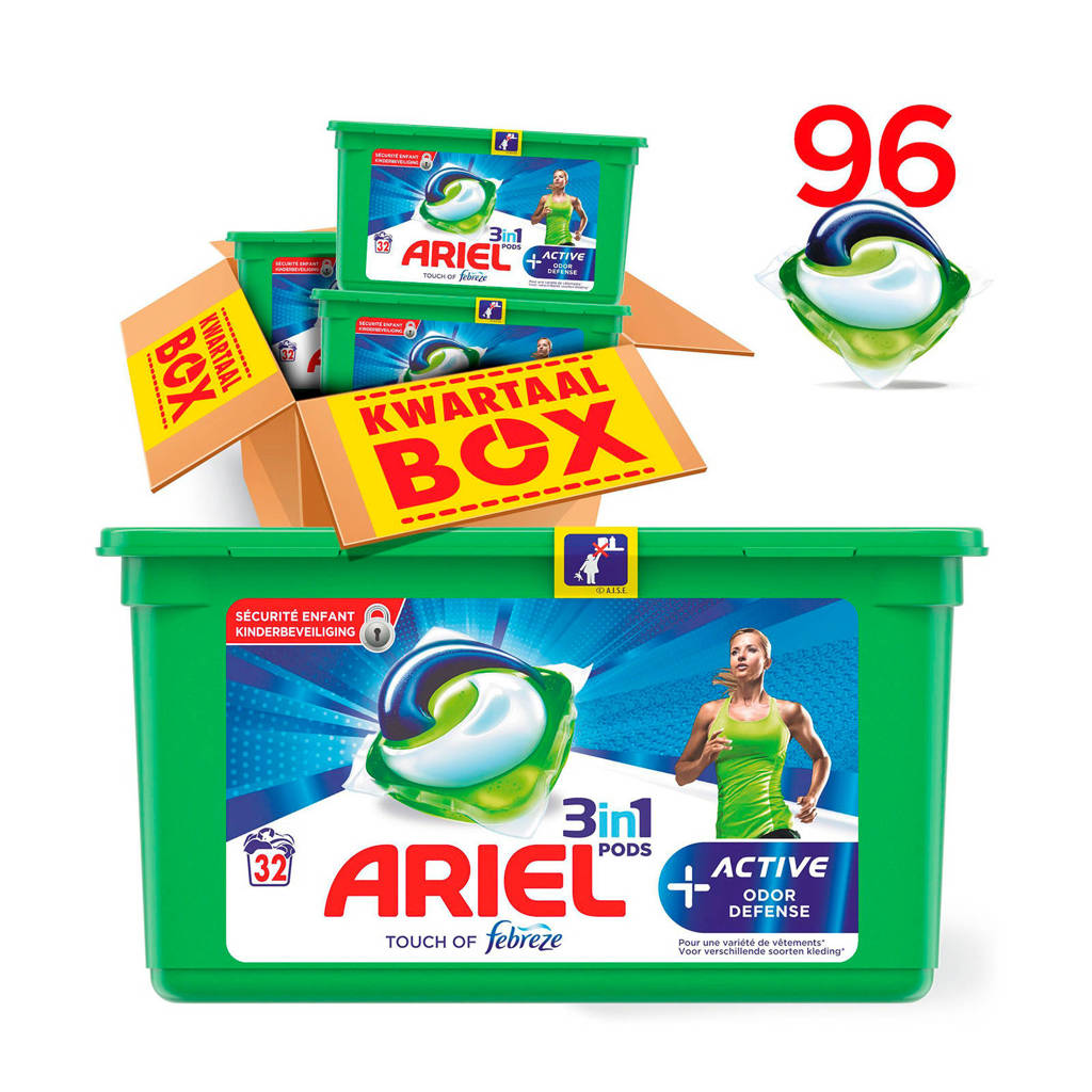 Ariel Active Odour Defense 3in1Pods wasmiddelcapsules 3 x 32 wasbeurten