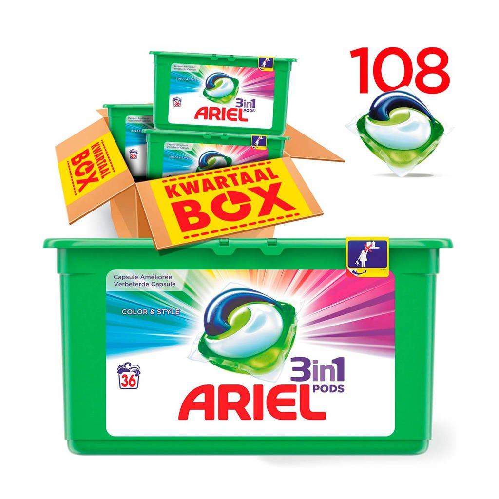 Ariel Kleur & Stijl 3in1Pods wasmiddelcapsules 3 x 36 wasbeurten, 108 stuks