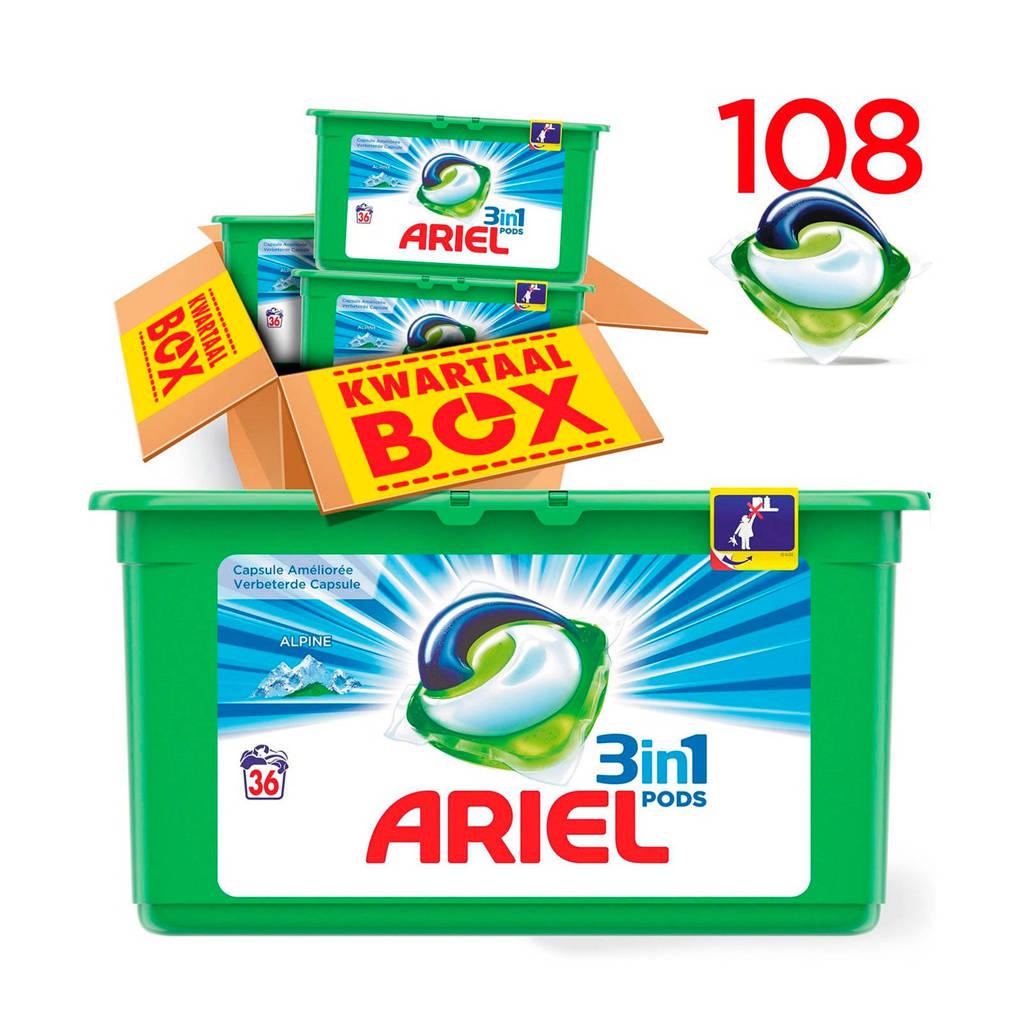 Ariel Alpine 3in1Pods wasmiddelcapsules 3 x 36 wasbeurten, 108 stuks