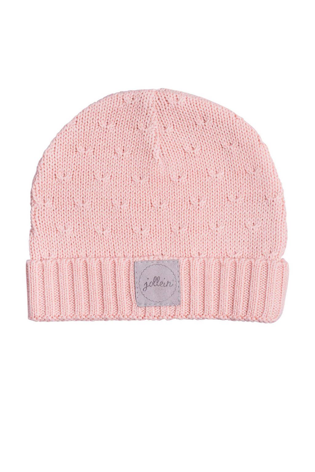 Jollein soft knit mutsje 2-9 mnd creamy peach, Roze