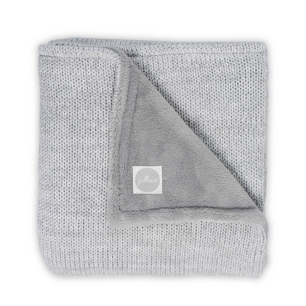Jollein Melange knit wiegdeken 75x100 cm grijs, Grijs