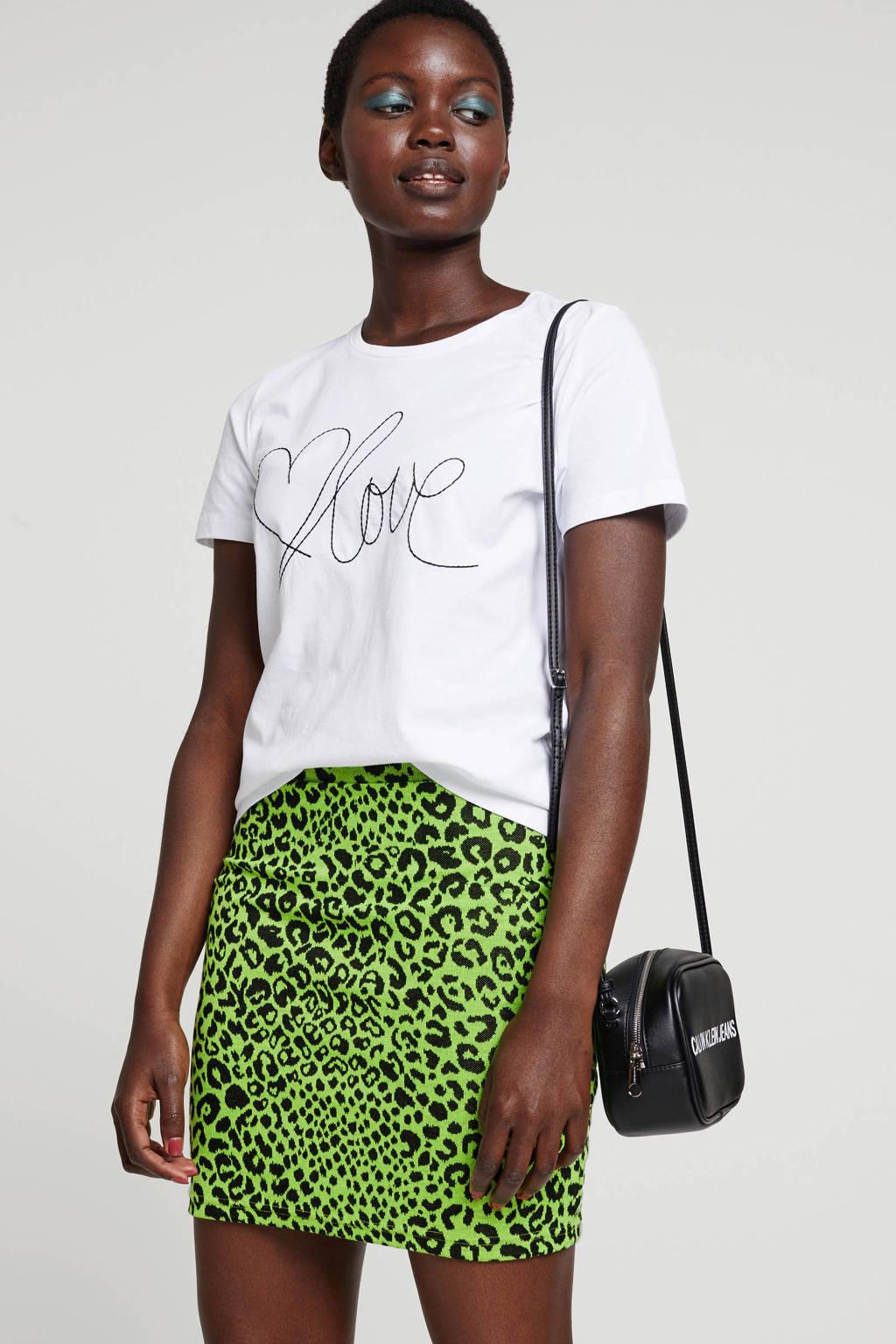ONLY rok met panterprint neon groen, neon groen/zwart