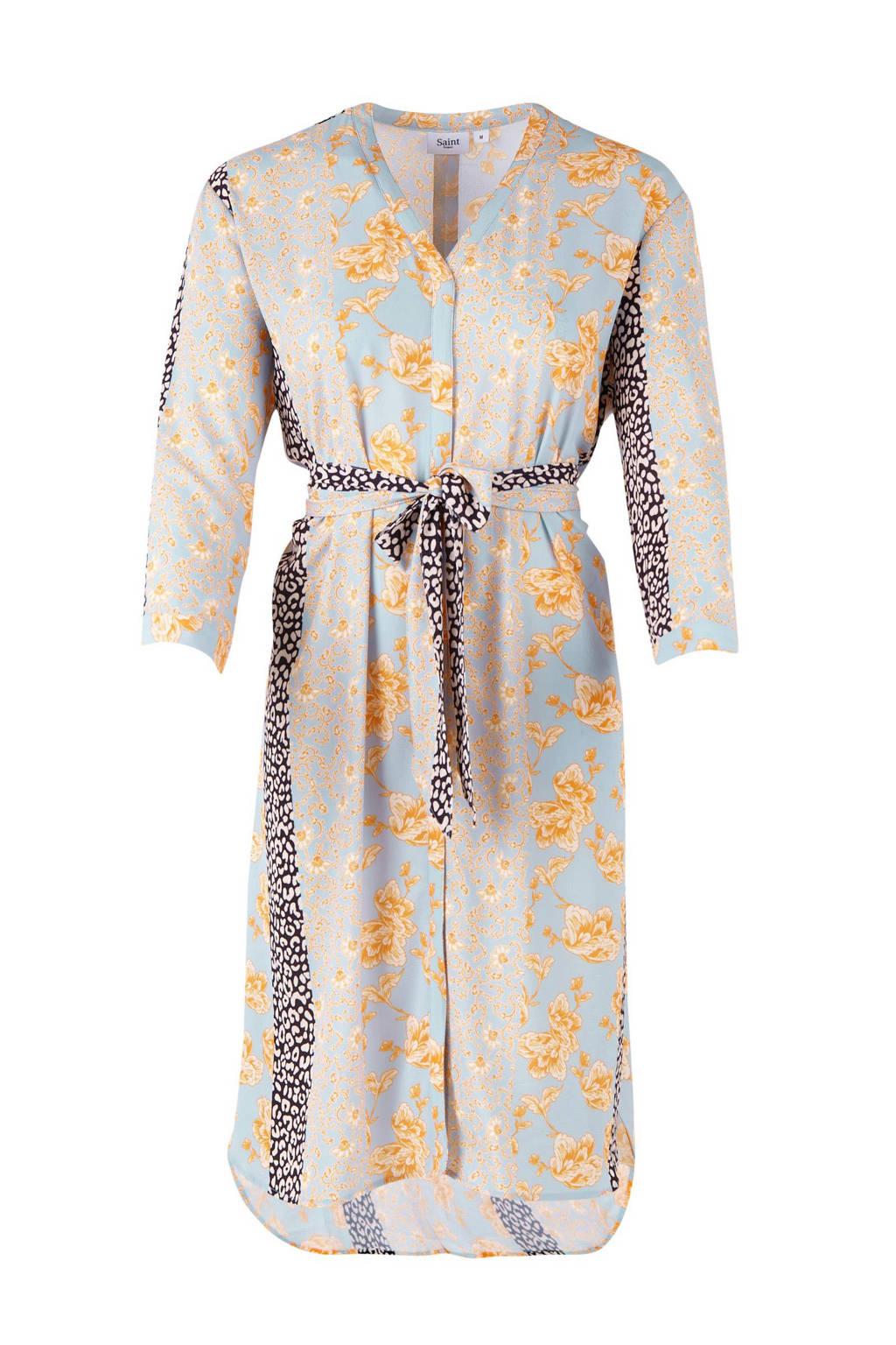Saint Tropez jurk met bloemenprint, Lichtblauw/roze